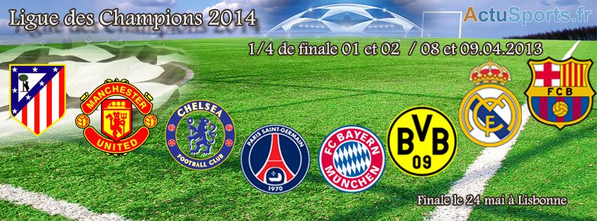 Quarts de finale de la Ligue des Champions 2014 les logos des qualifiés