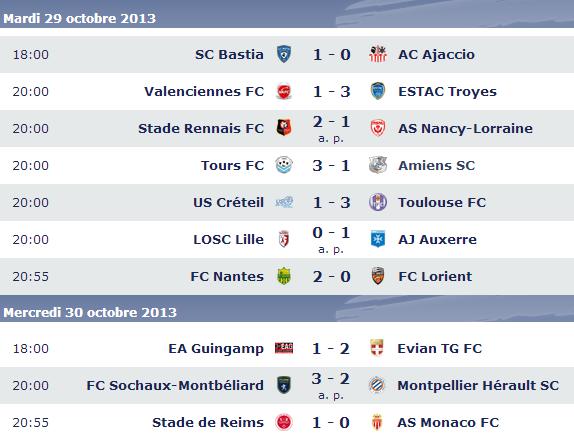 Calendrier coupe de la ligue 2013 2014 programme r sultats - Resultat foot lyon marseille coupe de la ligue ...