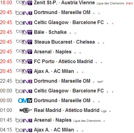 Programme TV Ligue des Champions