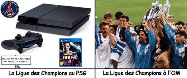 psg vs om   playstation vs ligue des champions