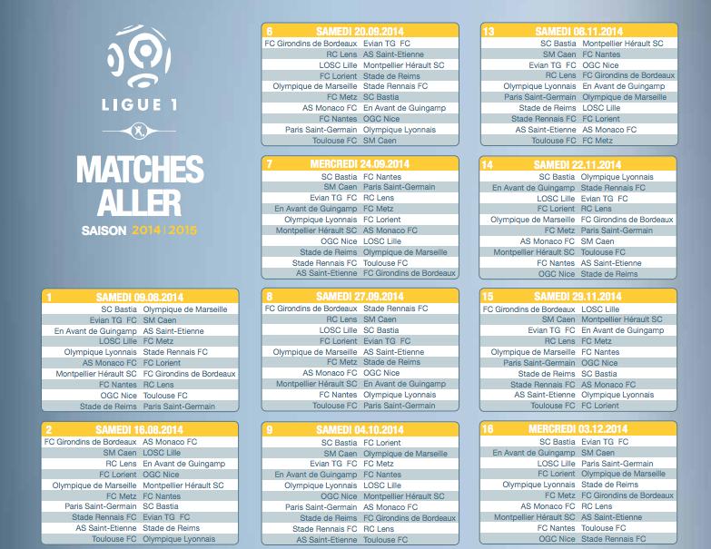 Calendrier L1 Psg.Calendrier De La Ligue 1 Saison 2014 2015 Football Sports