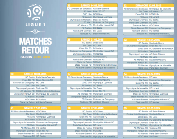 calendrier de la ligue 1 saison 2014 2015 toutes les dates. Black Bedroom Furniture Sets. Home Design Ideas