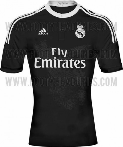 maillot du real madrid saison 2014 2015 third all black. Black Bedroom Furniture Sets. Home Design Ideas