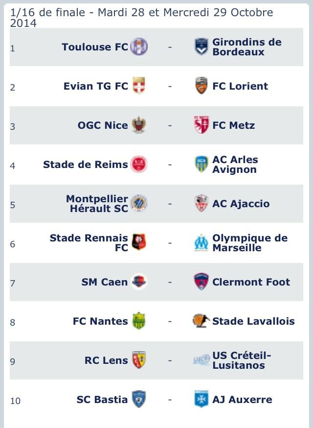 Calendrier coupe de la ligue 2014 2015 r sultat tirage - Resultat coupe de la ligue en direct ...
