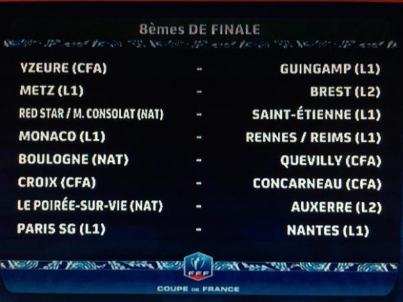 8 mes de finale coupe de france 2015 - Resultat tirage coupe de france 2015 ...