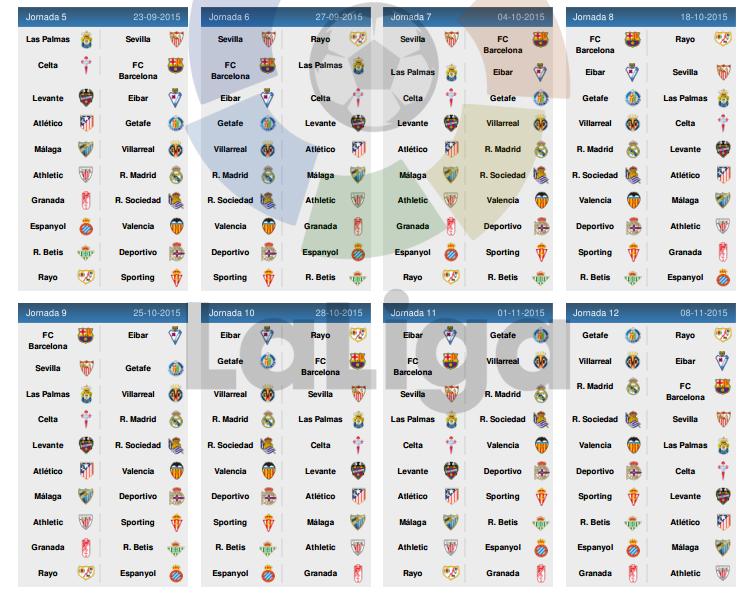 CALENDRIER DE LA LIGA BBVA 2015-2016 - Euro 2016 football et Jeux ...
