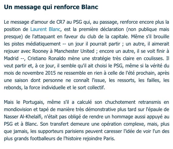 Message de CRistiano ROnaldo a Blanc renforce sa position au PSG