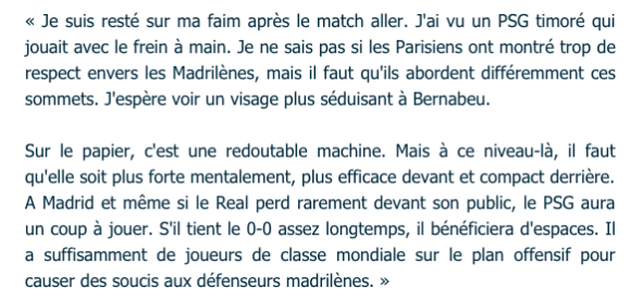 Felix Magath Déclaration avant Real Madrid PSG