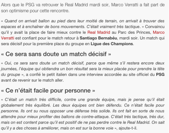 Marco Verratti Déclaration avant Real MAdrid PSG