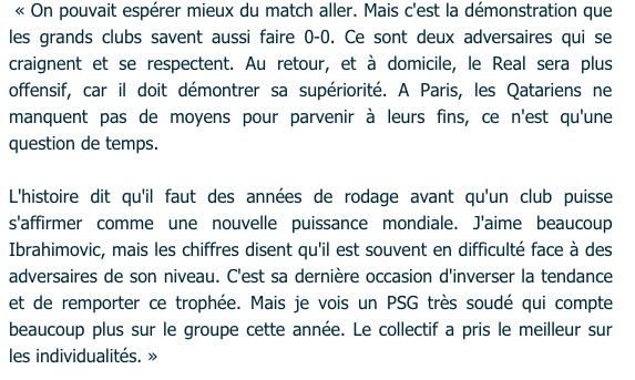 Paolo Rossi Déclaration avant Real MAdrid PSG