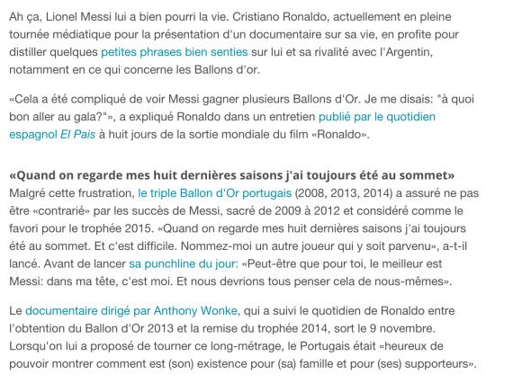 Résumé de l'interview de Cristiano Ronaldo d'El Pais