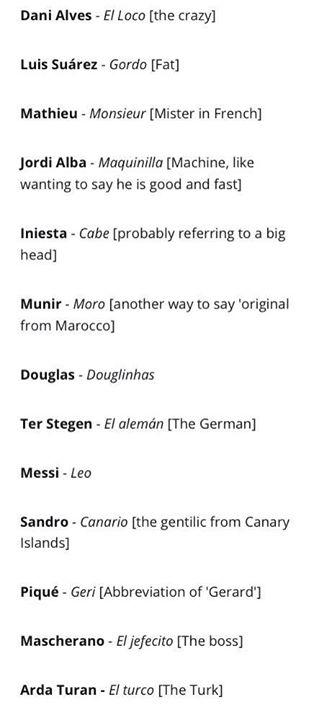 surnom de joueurs du Barça