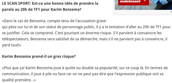 risque de Karim Benzema en passant sur TF1