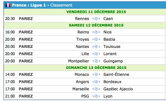 programme 18e journée de la Ligue 1 2015/2016