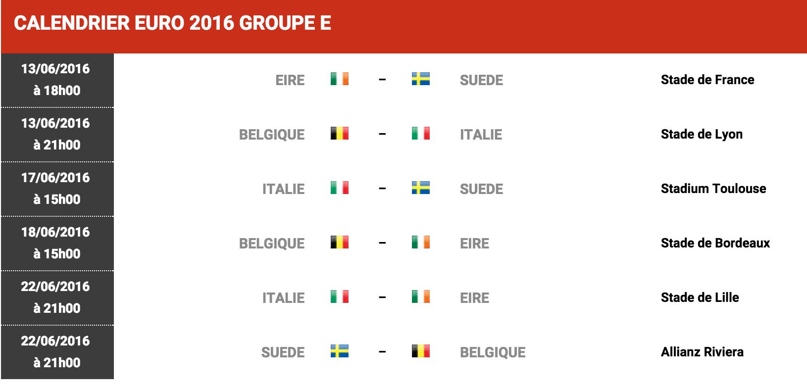 Euro Calendrier Match.Calendrier Matches Euro 2016 Groupe E Football Sports Le