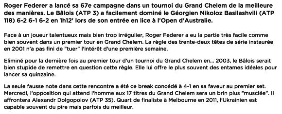 Résumé du match de Roger FEderer 1er tour open Australie