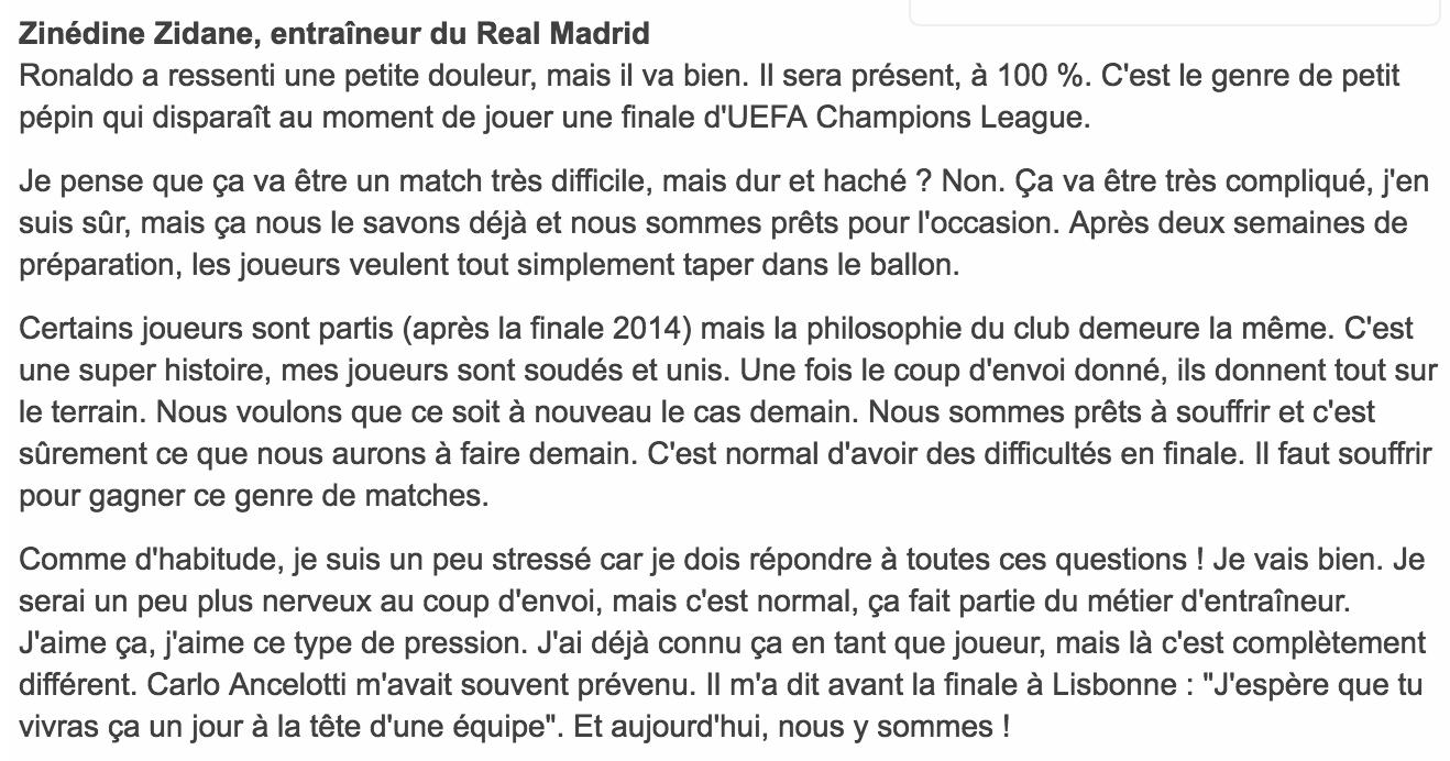déclaration de Zidane finale LDC 2016